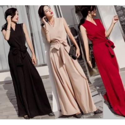 ワイドパンツ ドレス 韓国 ファッション レディース パンツドレス ノースリーブ ウエストリボン vネック 夏服 レディース ジャンプスー