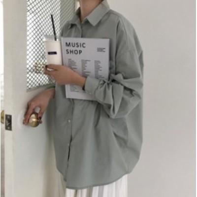 ブラウス レディース 長袖 白 シャツ 韓国 ファッション トップス ビッグシルエット 羽織 長袖 無地 ゆったり カジュアル シンプル 大人