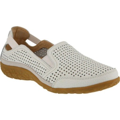 スプリングステップ レディース オックスフォード シューズ Juhi Perforated Slip On White Full Grain Leather