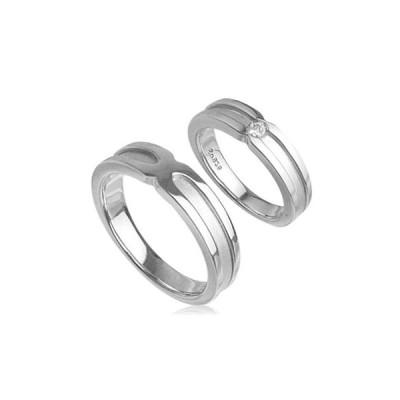 エレガンスマットラインペアリング指輪 シルバーSV925プラチナコーティング レディース メンズ アクセサリー 女性男性 上品 大人 ストーン 石付き ジュエリー