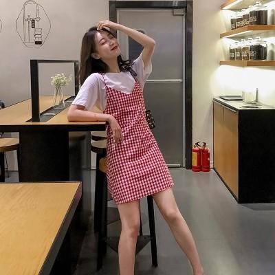 ファッションスーツスカート2020夏の新ネット赤半袖tシャツ+チェック柄サスペンダードレス外国風
