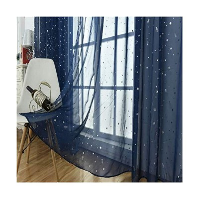 WUBODTI Navy Blue Sheer Curtains for Kids Bedroom Living Room Nursery Window 1 Panel, Beautiful Star Voile Boys Room Drapes Curtains Window