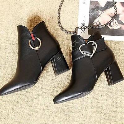 サイドファスナーブーツ 袴ブーツ 太ヒール 5cmヒール シンプル アンクルブーツ 痛くない ショートブーツ 黒 歩きやすい 大きいサイズ レディース靴 コスプレ