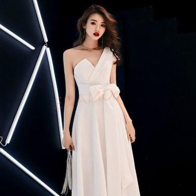 ワンショルダー パーティードレス ホワイト 白 ロングドレス 結婚式 二次会 お呼ばれ リボン お洒落 宴会 イブニングドレス 20代 30代 40代