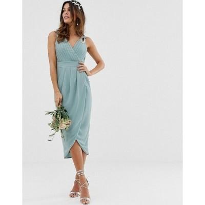 エイソス レディース  ワンピース トップス ASOS TFNC bridesmaid exclusive wrap midi dress in sage