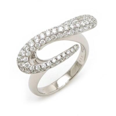 ファッションリング 指輪 ダイヤモンド ダイヤ パヴェ D1.11ct K18WG #13 13号 (中古)