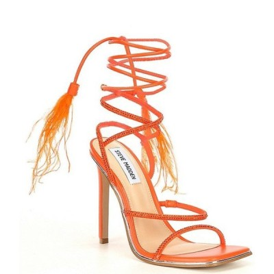 スティーブ マデン レディース サンダル シューズ Upgrade Rhinestone Feather Embellished Ankle Wrap Stiletto Dress Sandals
