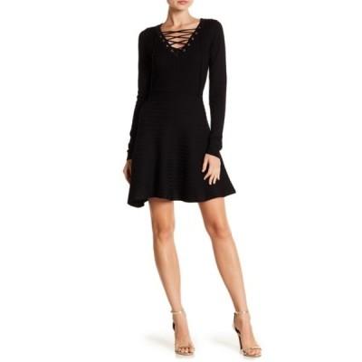 ニナレオナルド レディース ワンピース トップス V-Neck Lace-Up Sweater Dress BLACK