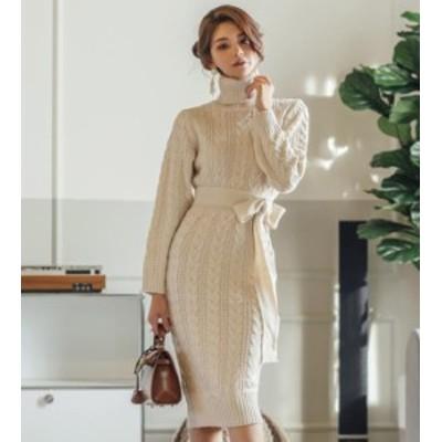 韓国 ファッション レディース ニットワンピース ニットワンピ リボン ハイウエスト タートルネック ケーブル編み きれいめ 長袖 大人可