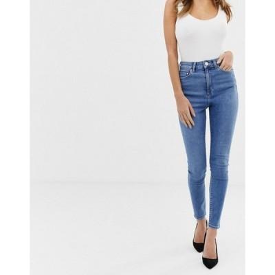 エイソス レディース デニムパンツ ボトムス ASOS DESIGN Ridley high waist skinny jeans in bright french blue