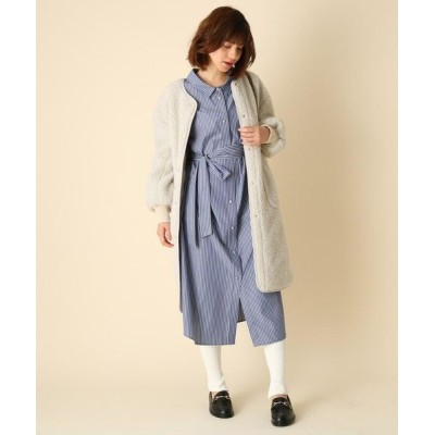 Couture Brooch/クチュールブローチ 【手洗い可】前後2WAYストライプシャツワンピース ブルー(392) 40(L)