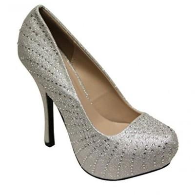 キューピッド レディース パンプス Qupid Onyx-215 Women's pointy toe beads glitter platform high heel stiletto pumps