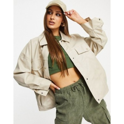 スリードベア レディース ジャケット・ブルゾン アウター Threadbare Maya PU trucker jacket in cream