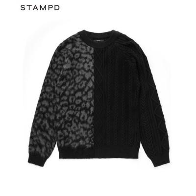 STAMPD スタンプド ニット メンズ CHEETAH BLOCKED SWEATER ブラック SLA-M2268KW ケーブル レオパード クルーネック ストリート 送料無料