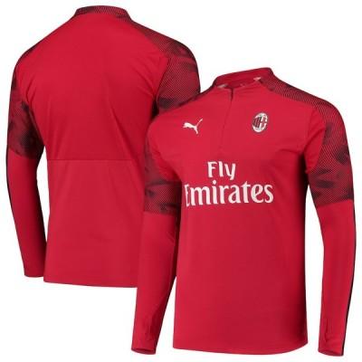 """メンズ ジャケット """"AC Milan"""" Puma DryCELL Quarter-Zip Training Pullover Jacket - Red"""