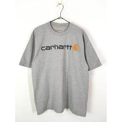 古着 Carhartt BIG ロゴ ワンポイント Tシャツ グレー L 古着