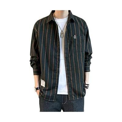 エレガンザーシャツ メンズ 長袖 ストライプシャツ ビッグシルエット ドロップショルダー ポケット付き カジュアル おしゃれ 大きいサイズ