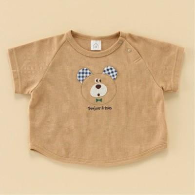 クマ柄ワッフルラグラン半袖Tシャツ ブラウン 80 90 95 100