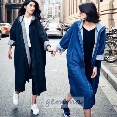 デニムジャケット レディース ロングコート 大きいサイズ アウター 春物 Gジャン スプリングコート カジュアル 長袖 ゆったり