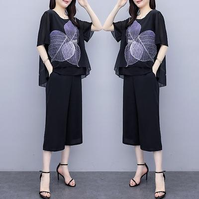 兩件式套裝大尺碼新款媽媽夏裝短袖中年女裝雪紡裙褲印花上衣寬松中老年兩件套2F088.1號公館