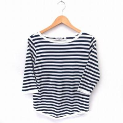 【中古】ビームスボーイ BEAMS BOY Tシャツ カットソー ボーダー 丸首 七分袖 コットン 綿 ネイビー 紺 ホワイト /FT
