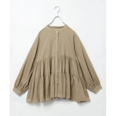 【ヴァンスシェアスタイル/VENCE share style】 バンドカラーティアードシャツ