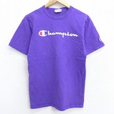古着 半袖 ブランド Tシャツ チャンピオン Champion ビッグロゴ コットン クルーネック 紫 パープル Sサイズ 中古 メンズ Tシャツ 古着
