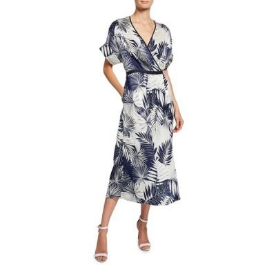 エキプモン レディース ワンピース トップス Tavine Leaf-Print Short-Sleeve Midi Wrap Dress
