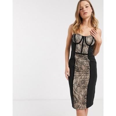 リバーアイランド River Island レディース ワンピース ワンピース・ドレス corset detail lace dress in black ブラック