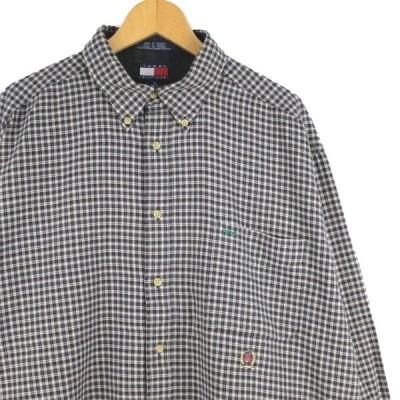 古着 大きいサイズ 90年代 フラッグタグ トミーヒルフィガー 長袖ボタンダウンシャツ メンズUS-XLサイズ チェック柄 グレー系 tn-0547n