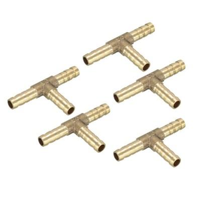 uxcell バーブホース継手 黄銅材質 6mmバーブ ゴールドトーン T型3ウェイコネクタ 5個入り