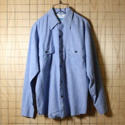 Sears Work Leisure USA製古着 ブルー オウム刺繍 シャンブレーシャツ メンズS
