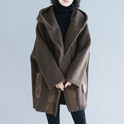 アウター レディース コート ジャケット 上着 羽織り ボア フリース フード ミドル丈 ビッグシルエット ルーズ 長袖 ポケット ジッパー