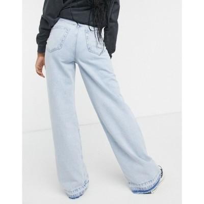 ストラディバリウス レディース デニムパンツ ボトムス Stradivarius super wide leg jeans in light wash Blues