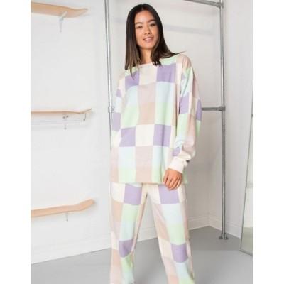 デイジーストリート レディース シャツ トップス Daisy Street relaxed coordinating sweatshirt in patchwork pastel