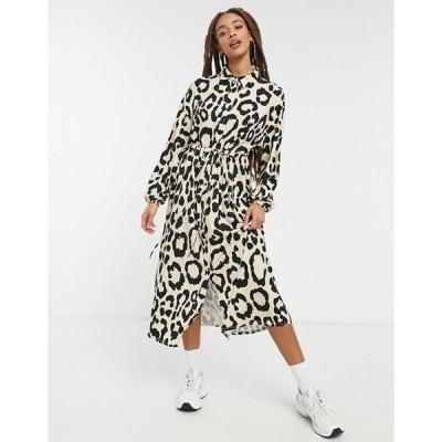 エイソス レディース ワンピース トップス ASOS DESIGN shirt dress in leopard print