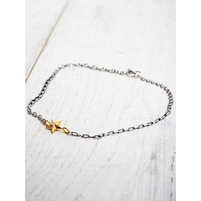 ☆予約商品 amp japan(アンプジャパン) Crazy Chain Gold Star Anklet クレイジー チェーン ゴールド スター アンクレット 15AH-700 シルバー925 メンズ