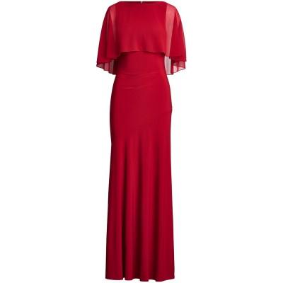 LAUREN RALPH LAUREN ロングワンピース&ドレス レンガ 10 ポリエステル 95% / ポリウレタン 5% ロングワンピース&ドレス