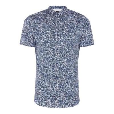 アルマーニ Armani Exchange メンズ 半袖シャツ トップス Dot Short Sleeve Shirt Blue
