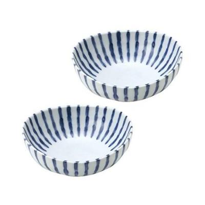 みのる陶器 濃十草 楕円4.5寸鉢 青 13.8×13.5×5.4cm 2個入