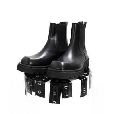ブーツ 【minsobi】高級本革 厚底チェルシーブーツ