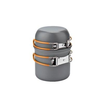(緑)屋外1-2人用ピクニックポットセット焦げ付き防止のボウルポットパンキャンプ調理器具セット