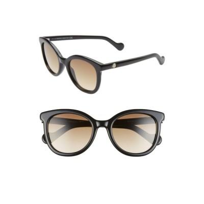 モンクレール MONCLER レディース メガネ・サングラス 52mm Sunglasses Shiny Black/Gradient Brown
