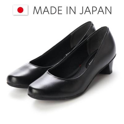ドンナリスペット donna rispetto 日本製/3.5cmローヒール本革アーモンドトゥパンプス (BLACK)