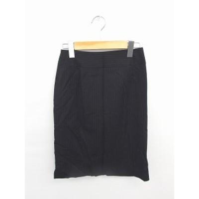 【中古】ナチュラルビューティーベーシック NATURAL BEAUTY BASIC スカート タイト ひざ丈 ストライプ ウール S 黒 白