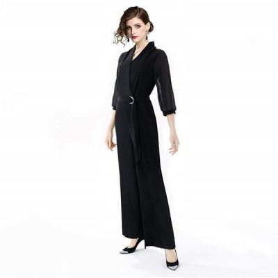 パーティードレス お呼ばれ ブラック シースルー パンツ 七分袖 パンツドレス 成人式 お嬢様 ワンピース ワンピ ウエディング ブライダル 結婚式 二次会 ドレス