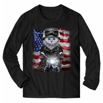 【ペルシャ猫 ねこ バイク 星条旗 アメリカ】メンズ 長袖 Tシャツ by Fox Republic