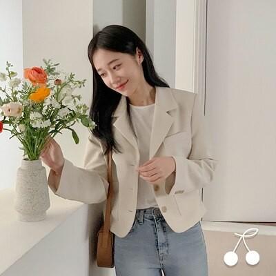 ミニマル クロップ 春ジャケット 公式ハイクォリティー 韓国ファッション