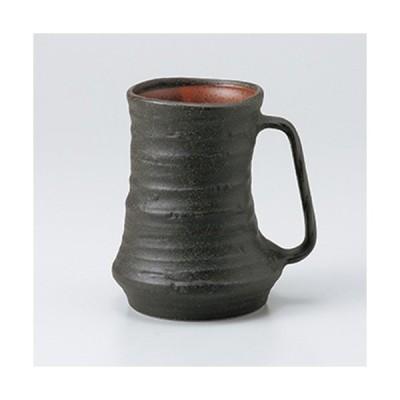 フリーカップ 和食器 / 黒備前ジョッキ 寸法:10.5 x 13.3cm ・ 580cc