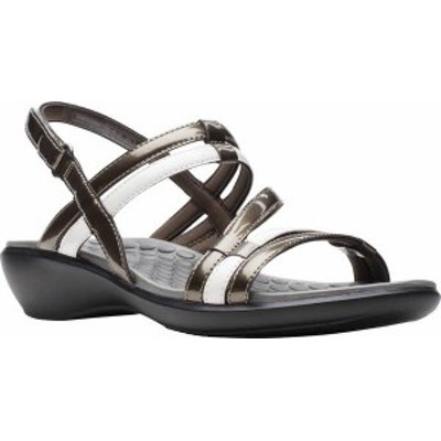 クラークス レディース サンダル シューズ Sonar Pioneer Sandal Pewter Metallic/White Synthetic